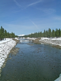 Diversion channel nicknamed the Super Ditch diverting overflow from the North Fork Feather River in Plumas County CA