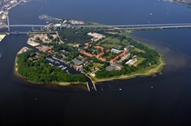 Dnholm island with the bridge connecting the city of Stralsund and the island of Rgen