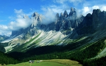 Dolomites in the clouds Italy