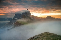 Dolomites Italy at sunrise