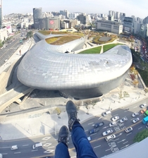 Dongdaemun Design Plaza from above in Seoul Designed by Zaha Hadid