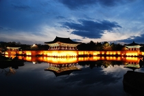 Donggung Palace and Wolji Pond an artificial pond and the surrounding architecture of the Royal Palace complex of the Kingdom of Silla constructed initially in  AD and restored Gyeongju South Korea
