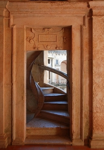 Door to a spiral staircase in the Cloister of the Convent of Christ Tomar Portugal
