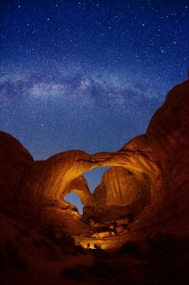 Double Arch and Milky Way stars at Arches National Park on October   in Utah