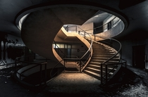 Double helix staircase in abandoned building in Belgium