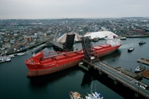 Double Jackknife Drawbridge open for the passage of a bulk carrier Chelsea Massachusetts