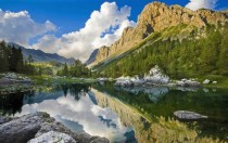 Double lake in Seven lakes valley Slovenia