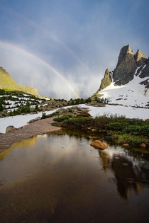Double rainbow after a thunderstorm in Wyomings Wind River Range