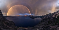 Double Rainbow at Crater Lake Oregon USA Photographer Jasman Mander