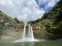 Double rainbow at the Wailua falls Accessible after the  minute hike from the road Kauai county Hawaii USA
