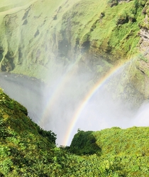 Double Rainbow formed by Skogafoss Waterfall Iceland