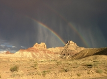 Double rainbow just south of Buck Horn Wash Rock Art in Utah