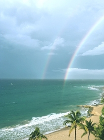 Double Rainbow on the beach of San Juan Puerto Rico