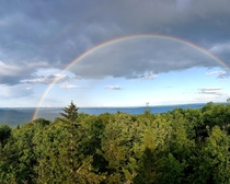 Double Rainbow on top of Douglas Mountain Maine OC