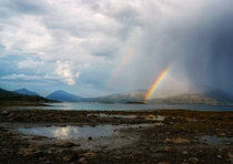 Double rainbow over a Norwegian Fjord