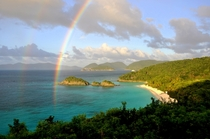 Double rainbow reflecting off of Trunk Bay - St John US Virgin Islands