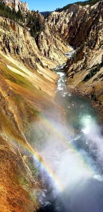 Double Rainbow up close near a roaring waterfall - Yellowstone National Park
