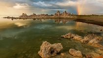 Double rainbows are rare but when they happen above tufa formations of Mono Lake with perfectly still water its an amazing experience