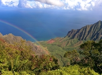 Double rainbows at the Puu O Kila Lookout Kauai Hawaii x