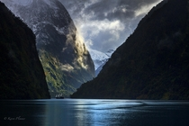 Doubtful Sound - the large fjord in Fiordland New Zealand  by Karen Plimmer