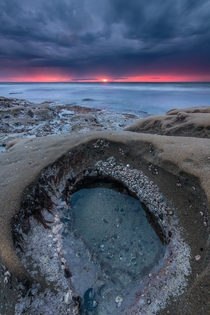 Down in a Hole Sunset in La Jolla California  X