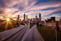 Downtown Atlanta at sunset long exposure