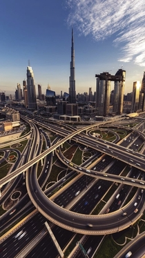 Downtown Dubai Sheikh Zayed Road interchange with Burj Khalifa in the background