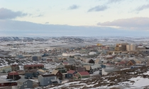 Downtown Iqaluit the largest city and territorial capital of the Canadian territory of Nunavut