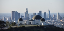 Downtown Los Angeles and the Griffith Observatory from Mount Hollywood shortly after sunrise this morning