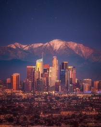 Downtown Los Angeles with Mt Baldy in the back