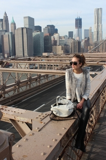 Downtown Manhattan from the Brooklyn Bridge Vogue photo shoot of Clara Alonso