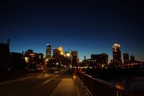 Downtown Minneapolis as viewed from the Stone Arch Bridge