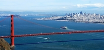 Downtown San Francisco and the Golden Gate Bridge from the Marin Headlands