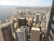 Downtown Seattle and waterfront from rd floor of Columbia Center