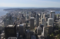 Downtown Seattle Washington from the top of the Columbia Center