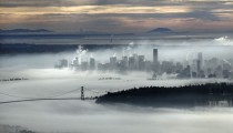 Downtown Vancouver in a sea of fog