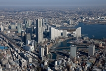 Downtown Yokohama and the urban sprawl of Tokyo
