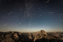 Dozens of Meteors over Half Dome Yosemite NP OC