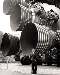 Dr von Braun stands by the five F- engines of the Saturn V Dynamic Test Vehicle on display at the US Space amp Rocket Center in Huntsville Alabama The engines measured -feet tall by -feet at the nozzle exit s