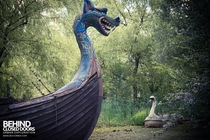 Dragon Ship at Spreepark an abandoned theme park in Berlin Germany