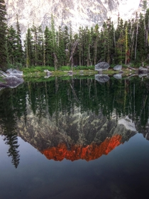 Dragontail Peak reflected in lagoon at The Enchantments