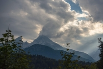 Dramatic clouds over Mt Watzmann BerchtesGaden Alps Germany