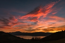 Dramatic sunset at lake Attersee in Austria