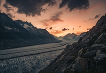 Dramatic sunset at the Aletsch Glacier Switzerland    OC
