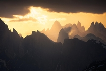 Dramatic sunset in the Dolomites