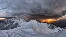 Dramatic sunset on Mount Orsaro on the Tuscan-Emilian Apennines Italy  Photo by Fabio Marchini