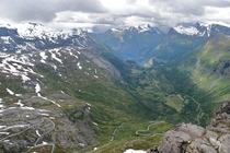 Dramatic view all the way to the fjord from Dalsnibba lookout in Norway