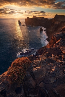 Dramatic vulcanic cliffs illuminated by the sunrise Madeira Portugal