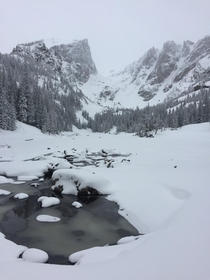 Dream Lake during snow fall RMNP in Estes Park CO