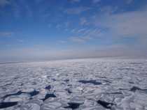 Drift ice off the coast of Abashiri Hokkaido Japan
